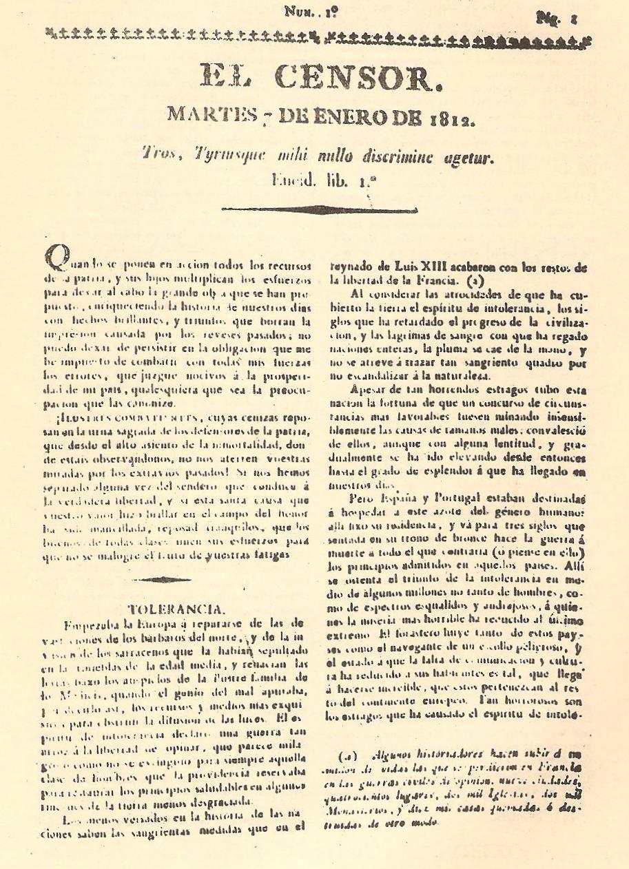 Periódico  El Censor , precursor de las protestas contra el Santo Oficio