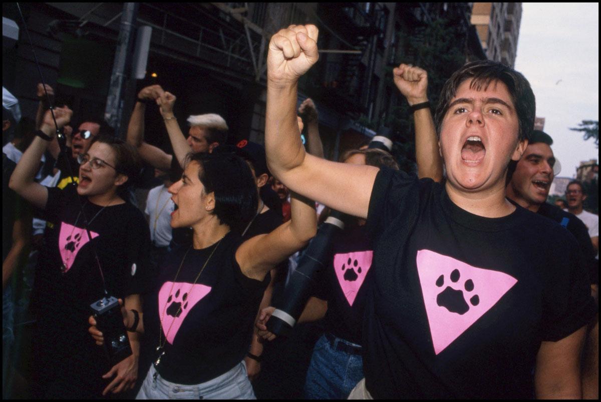 Los Pink Panthers durante una manifestación
