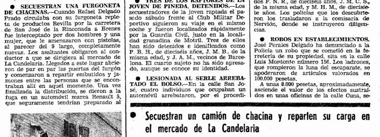 Atraco y reparto de embutidos en Sevilla ( ABC , 11 de enero de 1978)