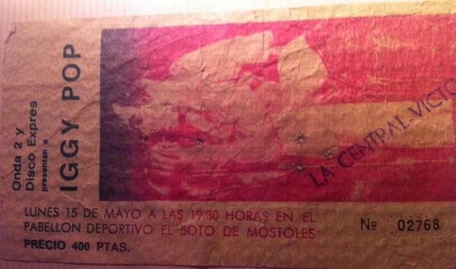 Entrada del concierto de Iggy Pop en Móstoles (15 de mayo de 1978)