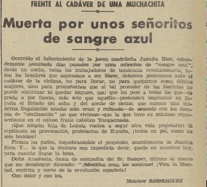 La noticia en  La Tierra  (22 de junio de 1934)