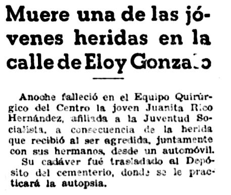 Noticia del fallecimiento de la joven en  Luz  (22 de junio de 1934)