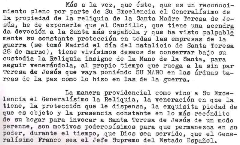 Carta del obispo de Málaga a Franco en la que le solicitaba la devolución de la reliquia