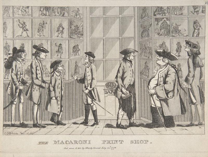 The Macaroni Print Shop  (1772), de Edward Topham