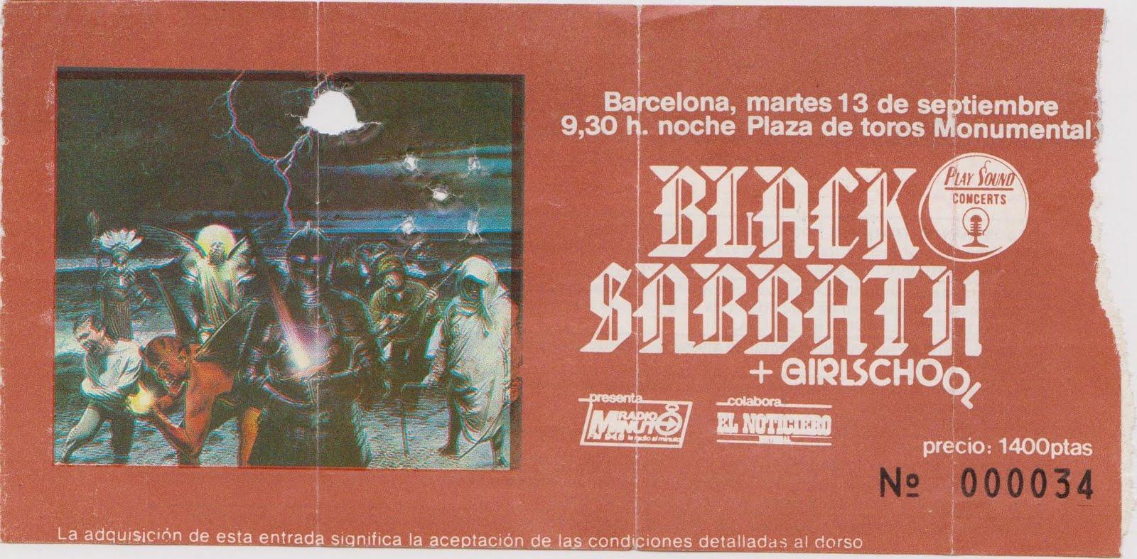 Entrada de Black Sabbath para la Monumental de Barcelona