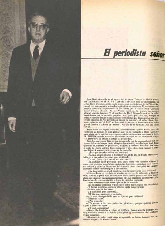 Fotografía de Baró en la entrevista para  El Ruedo