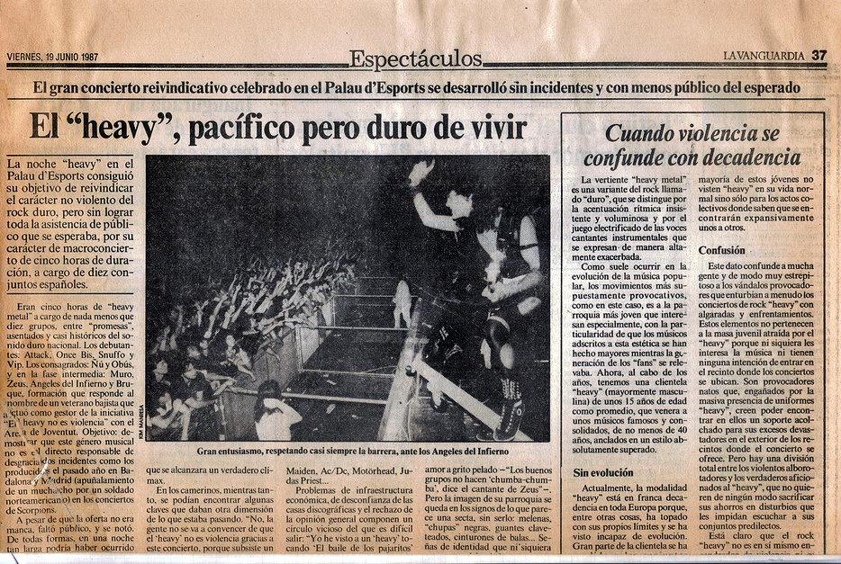 """«El """"heavy"""", pacífico pero duro de vivir».  La Vanguardia"""