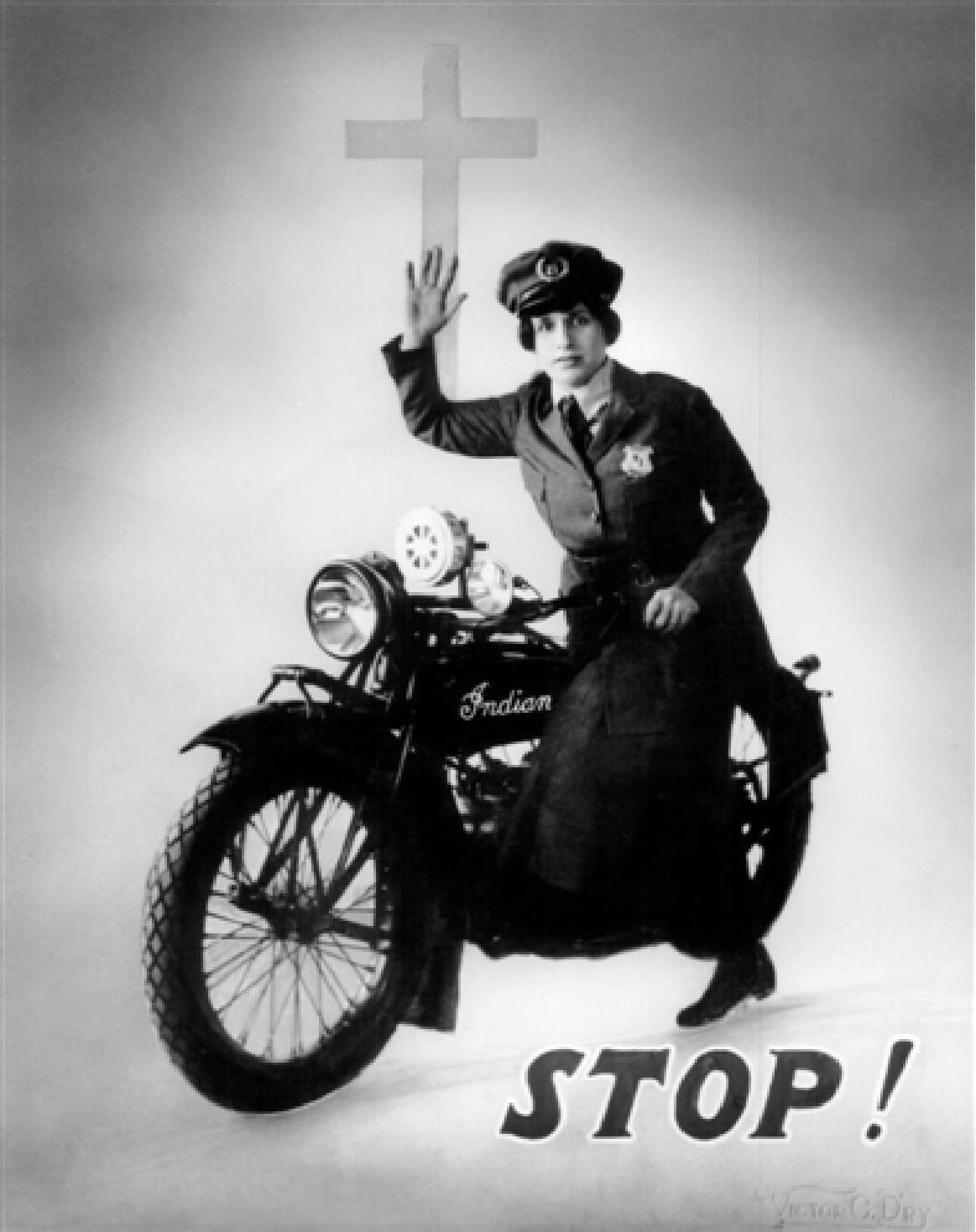 Cartel propagandístico de Aimee: «¡Alto! ¡Te encaminas al infierno!»