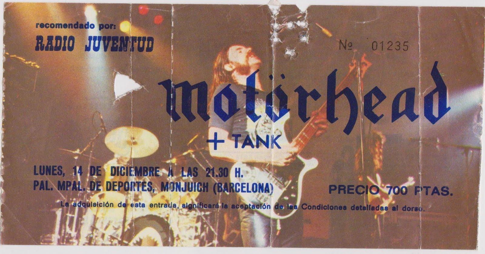 Entrada del concierto de Motörhead en Barcelona
