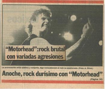 La prensa se hace eco del concierto de Motörhead de la gira por España de 1982