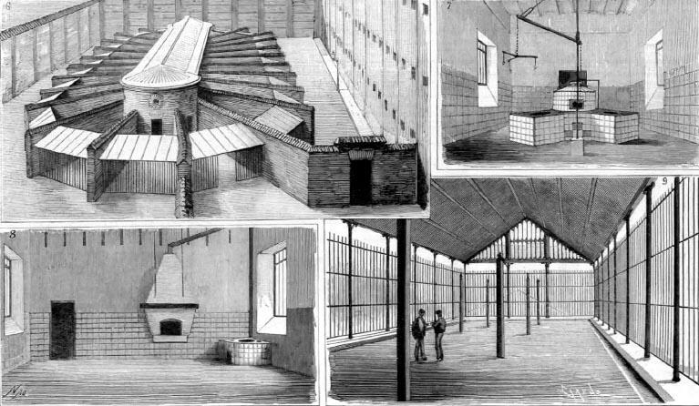 Exterior de la cárcel Modelo e ilustraciones del interior