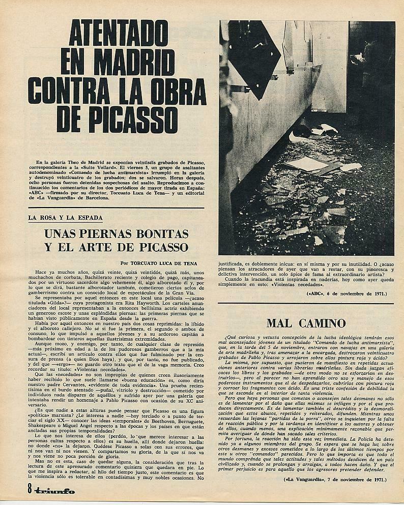 La noticia publicada en la revista  Triunfo . Arriba, a la derecha, estado en el que quedaron algunos de sus cuadros