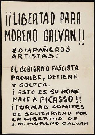 Panfleto a favor de Galván repartido durante el encierro en el Museo del Prado