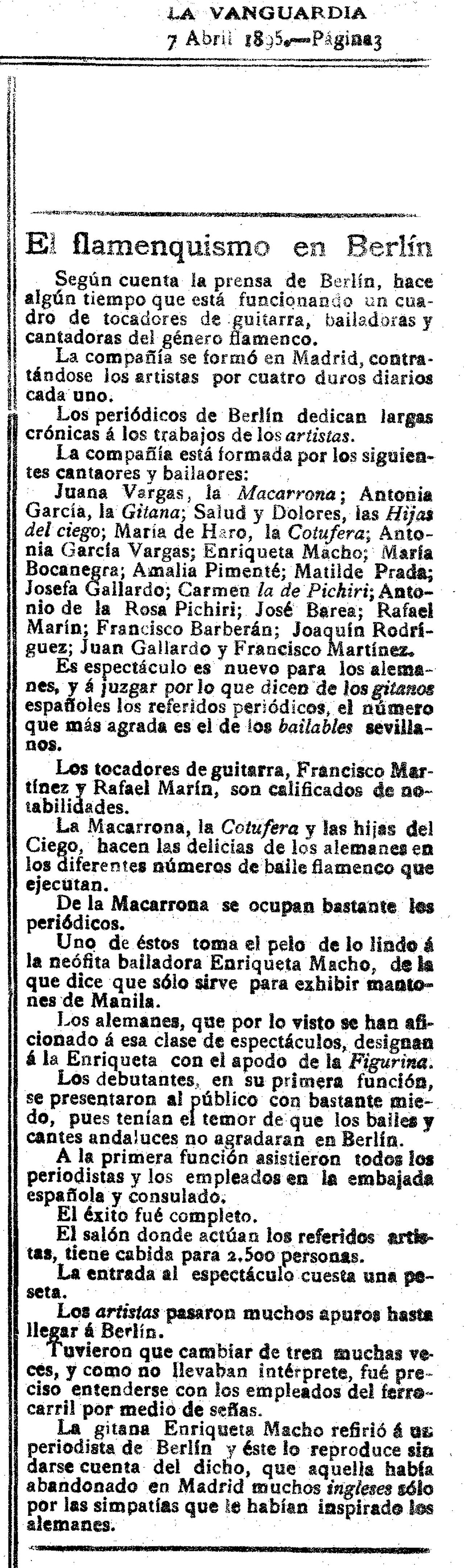 La Vanguardia  (7 de abril de 1895)