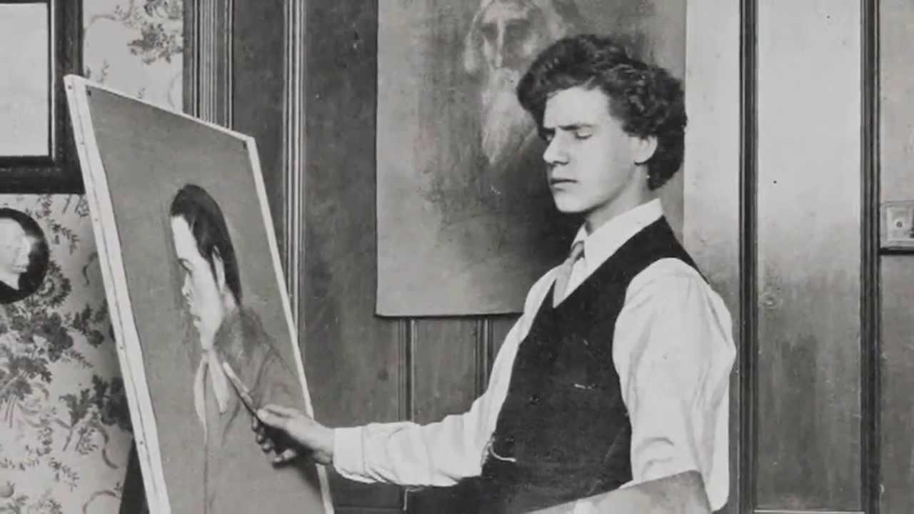 Un joven Spare pintando durante una de sus sesiones de trance