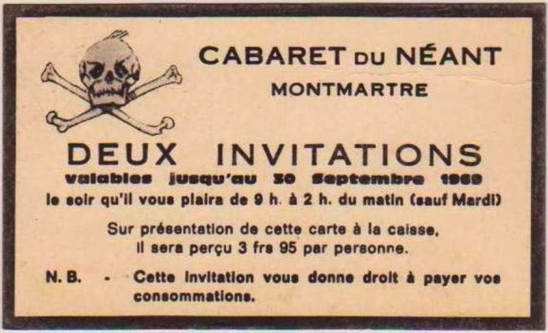 Invitación para acudir al Cabaret de la Muerte