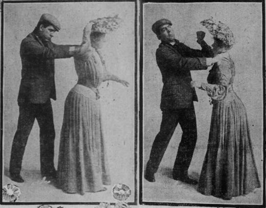 Viñetas que muestran la autodefensa con alfileres ( San Francisco Sunday Call , 1904)