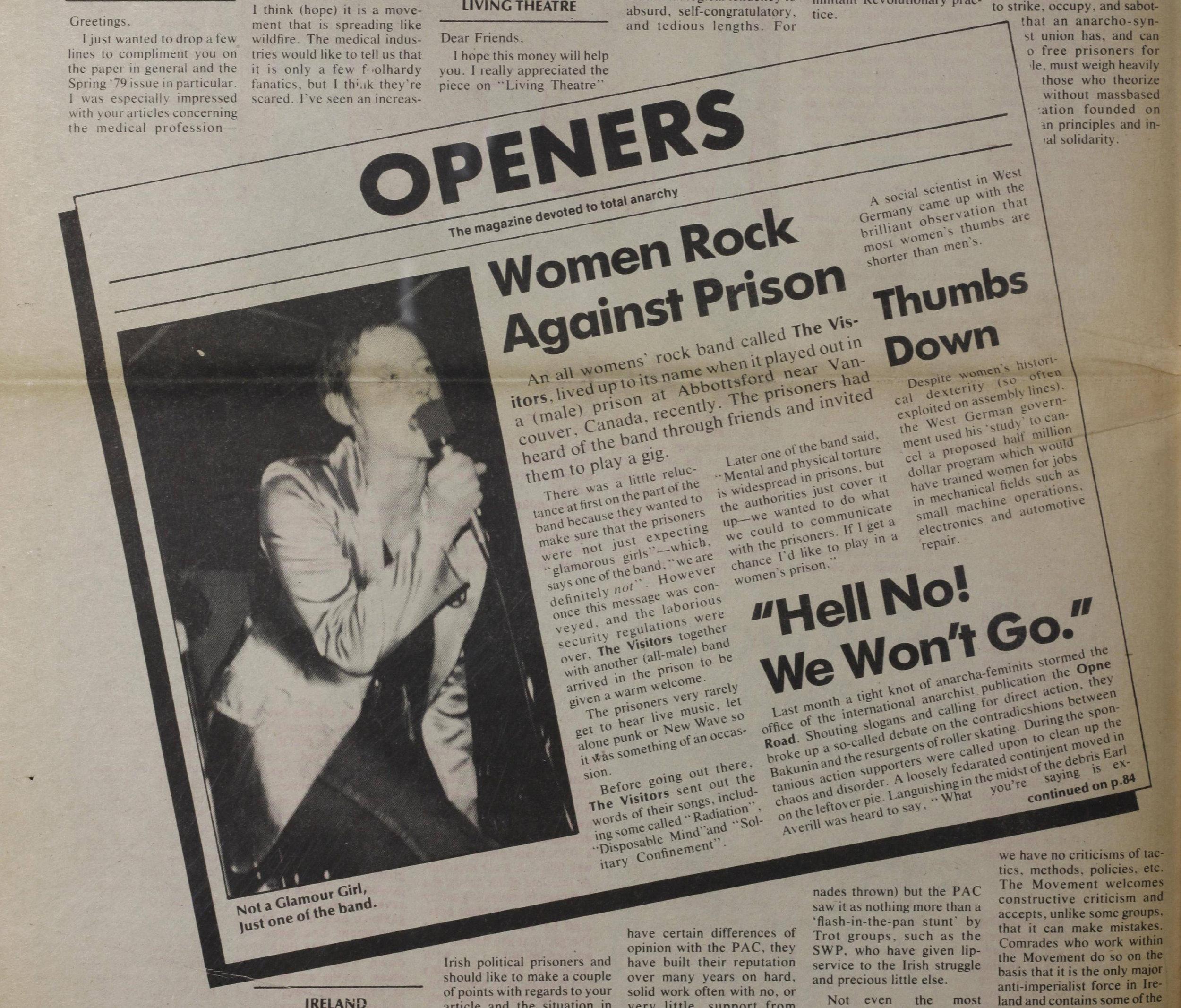 La cantante de Visitors y la noticia de su show en el periódico anarquista  Open Road  (verano de 1978)