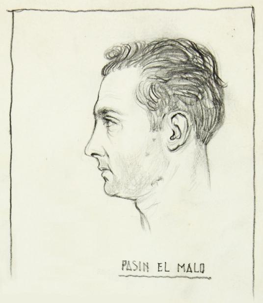 Retrato de Pasín realizado en la cárcel poco antes de ser fusilado