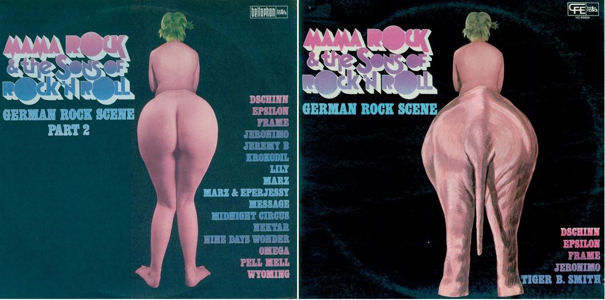 Edición original y edición (censurada) española de  Mama Rock and the Sons of Rock'N'Roll