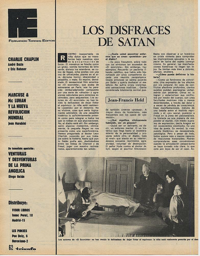Triunfo  y un artículo sobre satanismo en el que entrevistan a un doctor sobre los poderes de Satán (2 de noviembre de 1974)