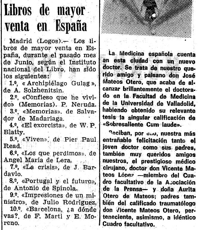 El exorcista  ocupa el cuarto puesto de libros más vendidos en España (  Diario de Burgos , julio de 1974)