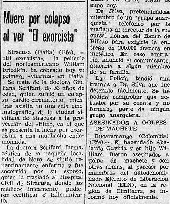"""""""Muere por colapso al ver  El Exorcista """" (  Diario de Burgos , octubre de 1974)"""