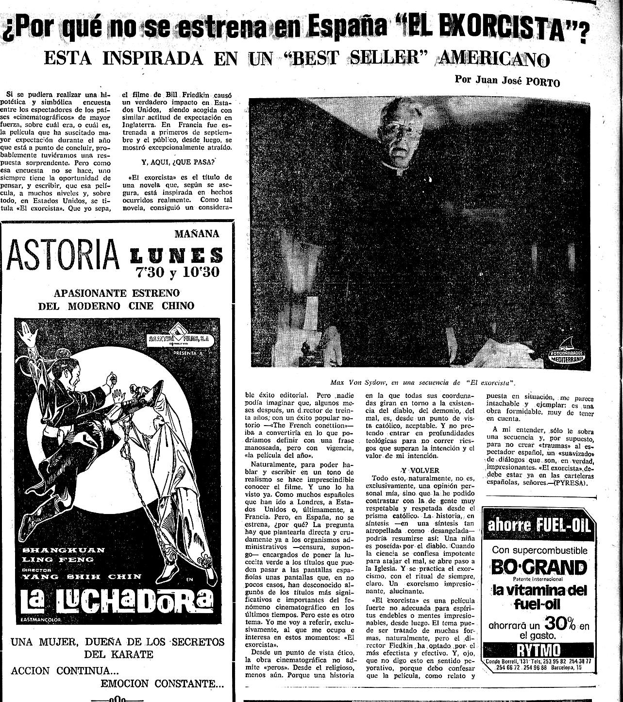 El Exorcista  y la prohibición (  Mediterráneo , diciembre de 1974)