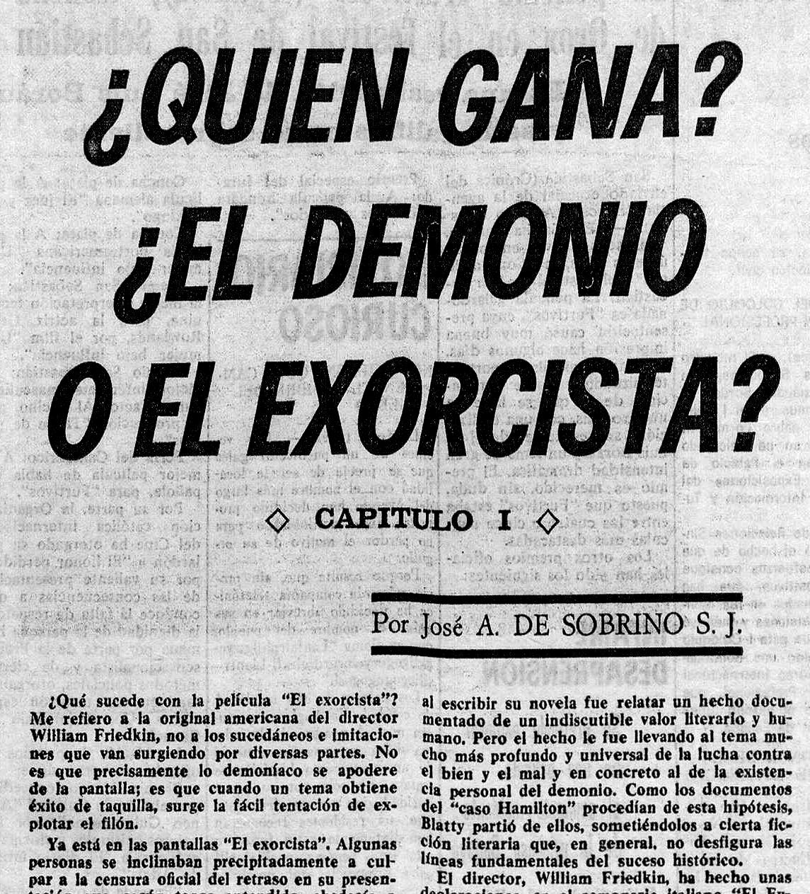 Se estrena por fin en España  El Exorcista  ( Diario de Burgos , septiembre de 1975)