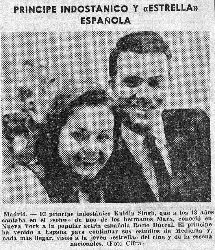 Kuldip junto a Rocío Dúrcal ( Hoja Oficial de la Provincia de Barcelona , noviembre de 1964)