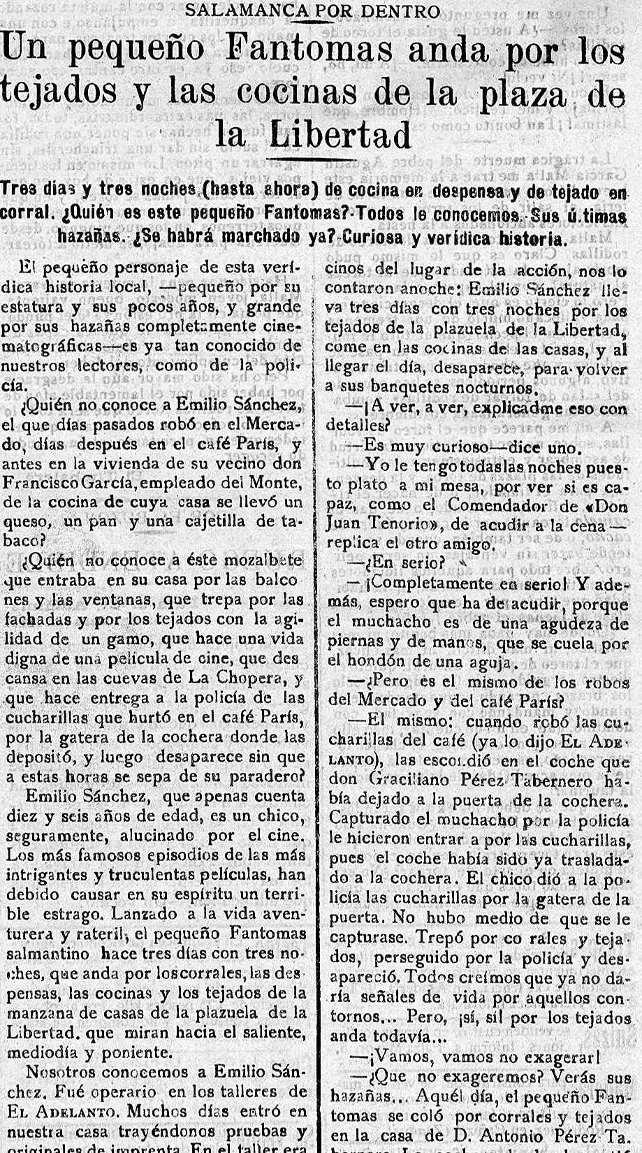 Fantomas salmantino en  El Adelanto  (9 de julio de 1920)