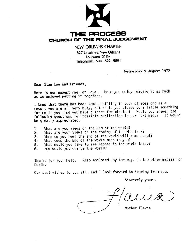 Carta de El Proceso a Stan Lee