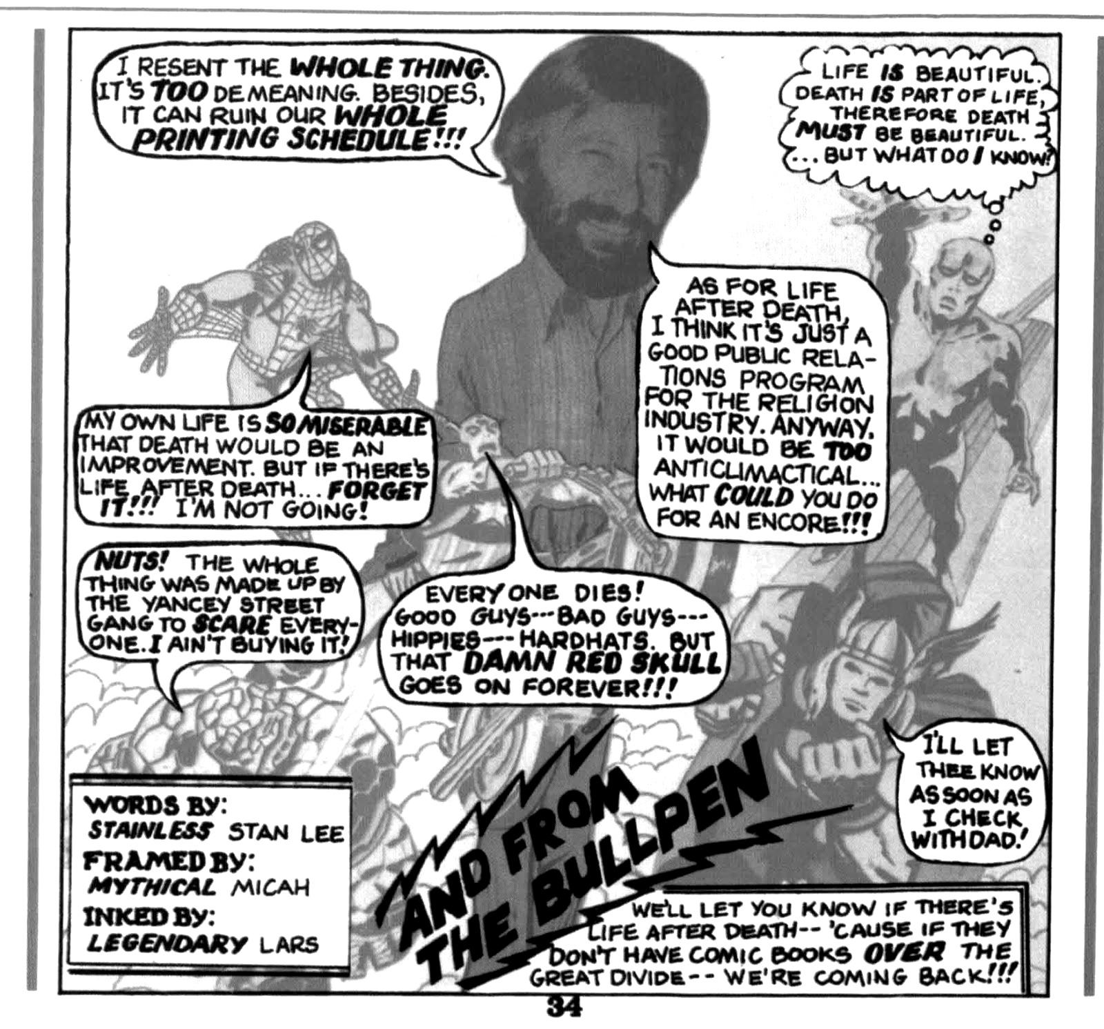 Respuesta de Stan Lee publicada en  What Is The Process?