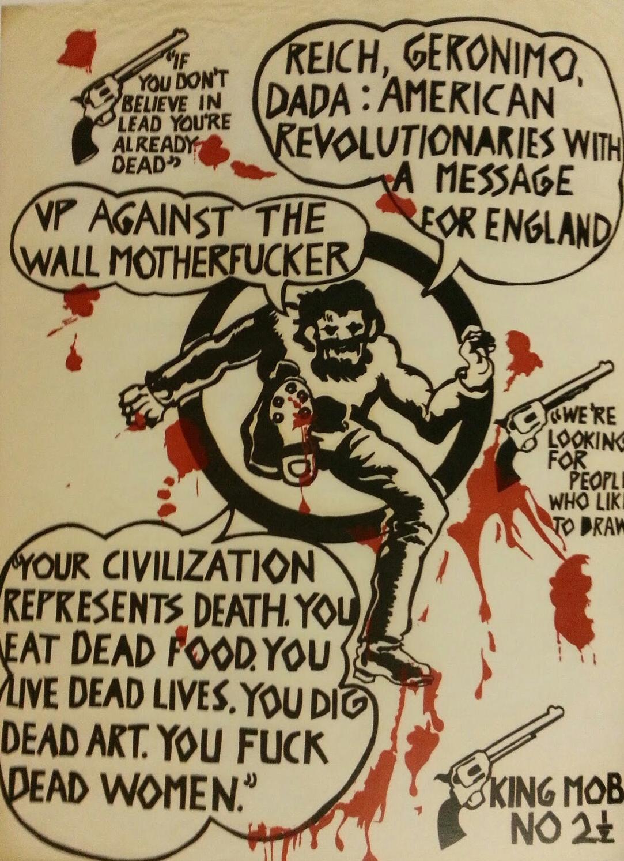 King Mob #2 (1967). En realidad, se trata de un diseño y texto tomado del grupo de Nueva York Motherfuckers /  Black Mask
