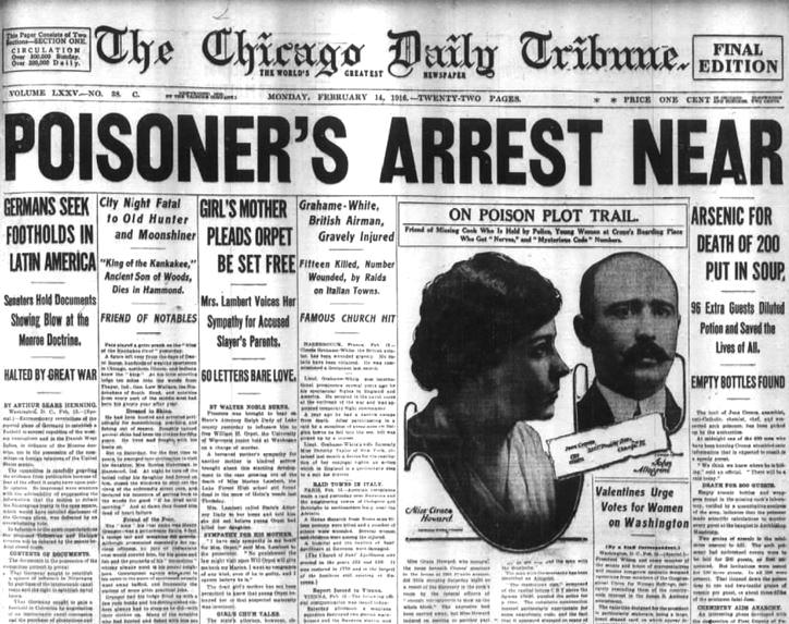 The Chicago Daily Tribune  recoge la detención de Jean Crones (14 de febrero de 1916)