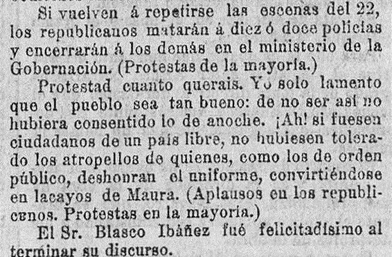 La prensa recoge la intervención de Blasco Ibañez