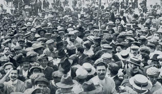 Blasco Ibañez, en el centro de la imagen, en el centro de Valencia tras las elecciones de 1905 ( Nuevo Mundo , 14 de septiembre de 1905)