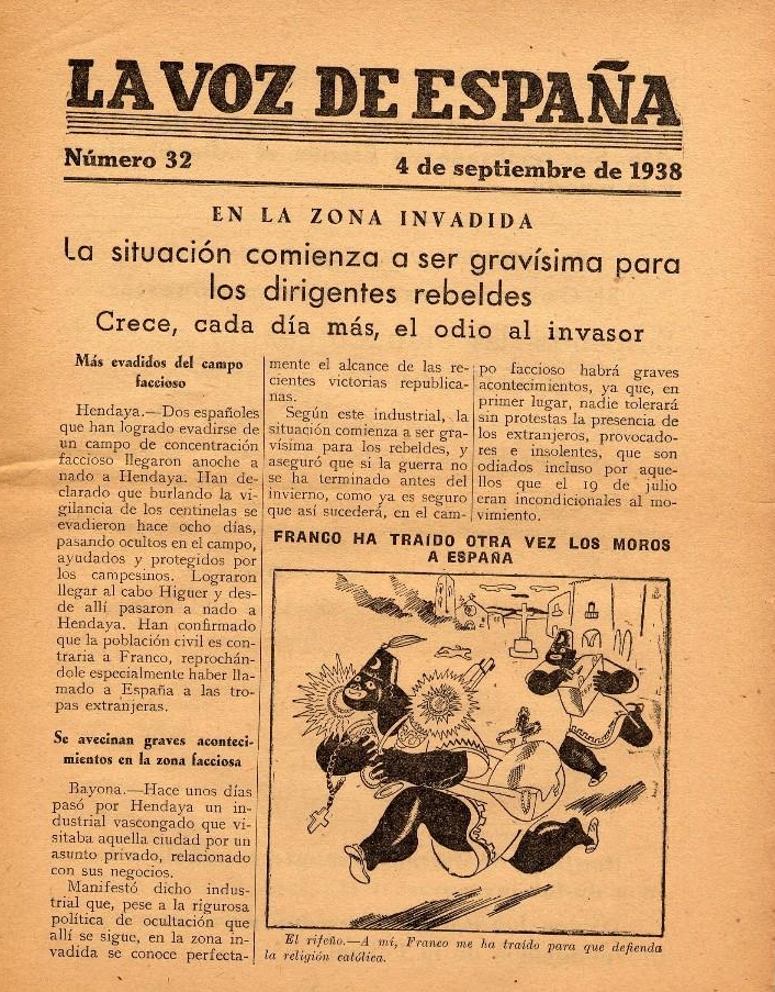 La Voz de España , periódico antifascista destinado a ser lanzado por los morteros agitprop