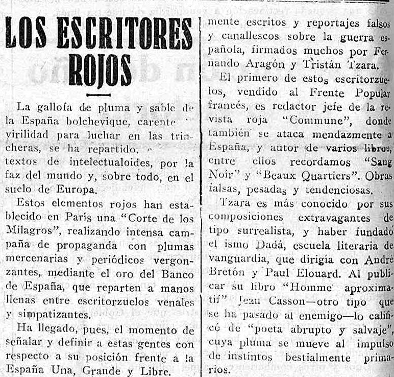 La prensa fascista y Tzara ( El avisador numantino , 12 de enero de 1938)