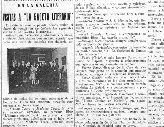 Tzara visita  La Gaceta Literaria  (1 de mayo de 1929)