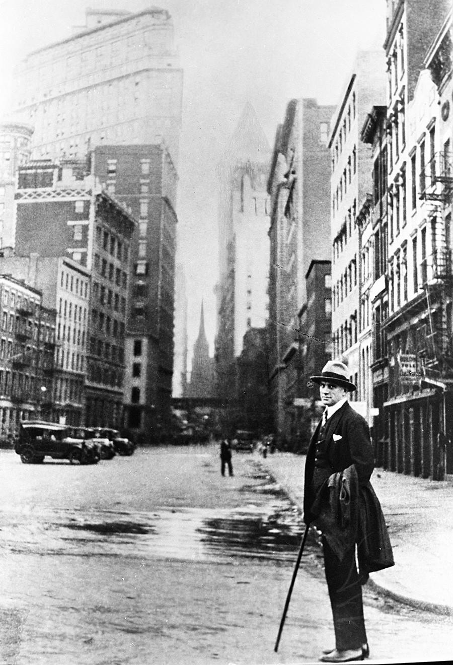 El poeta durante su viaje a Nueva York