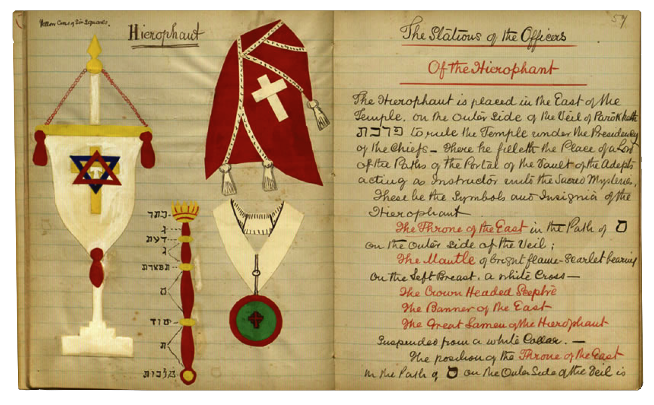 Manuscrito del poeta W. B. Yeats, miembro de Aurora Dorada, en el que detalla los trajes ceremoniales según los grados