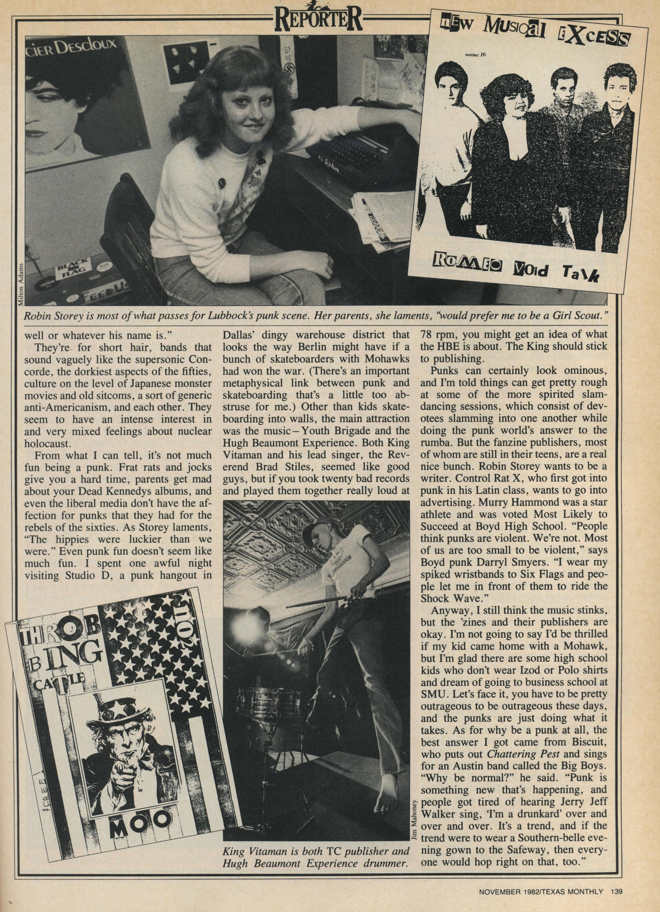 Robin Storey, arriba, entrevistada en  Texas Monthly  (1982): «Prefiero ser yo que una chica scout»