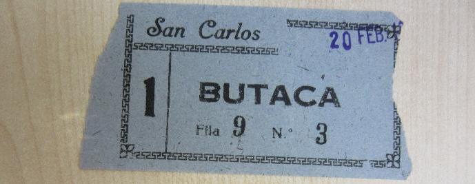Una entrada para el cine San Carlos