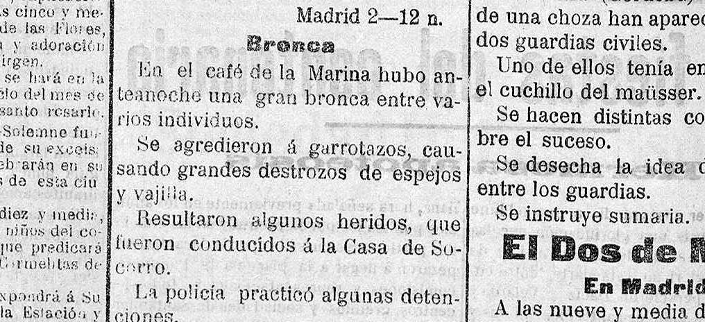 «A garrotazos» en el café de La Marina