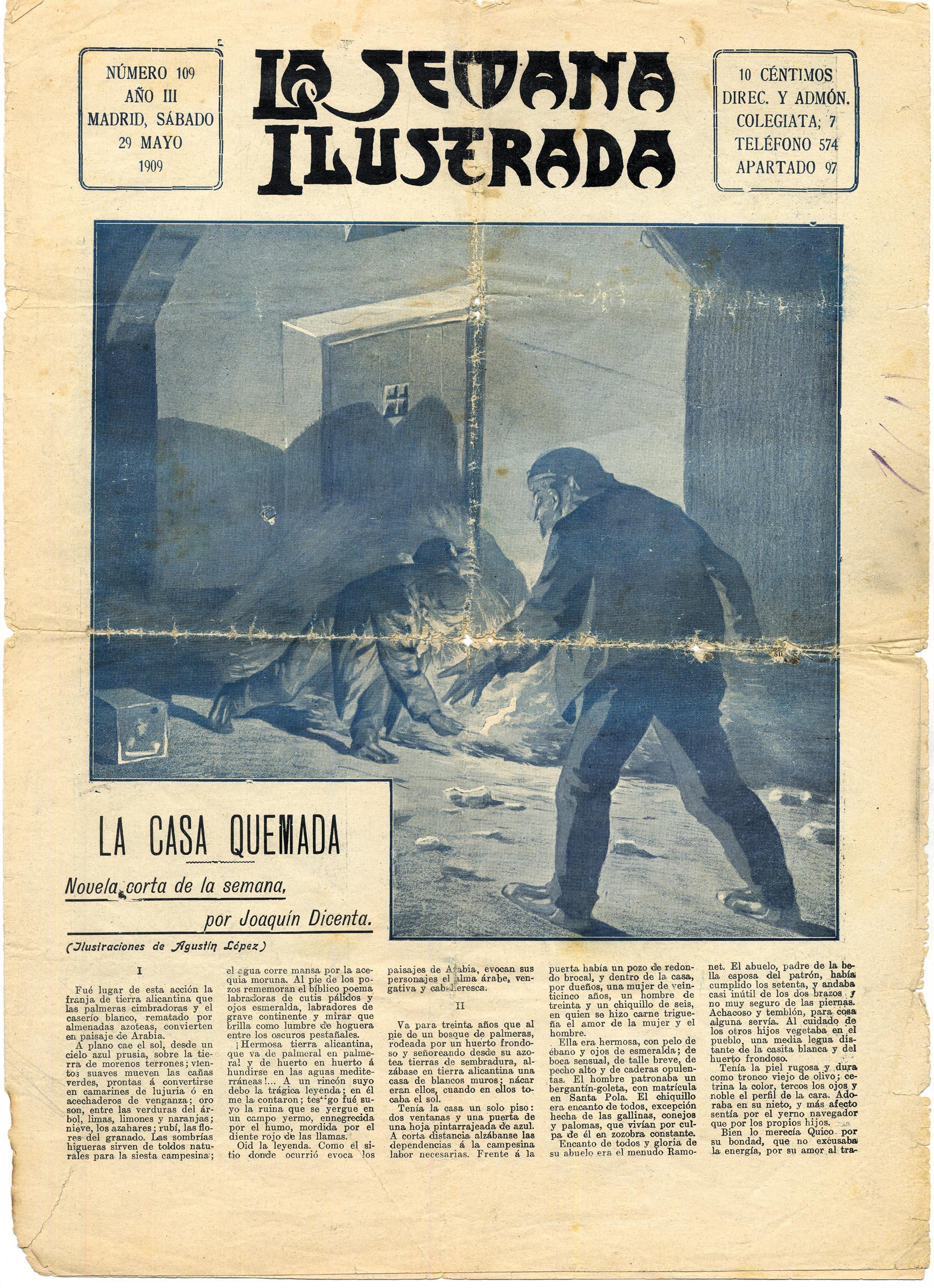 Relato de Joaquín Dicenta publicado en  La Semana Ilustrada  (29 de mayo de 1909)