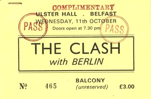 Entrada para el concierto, finalmente cancelado, de The Clash en Belfast