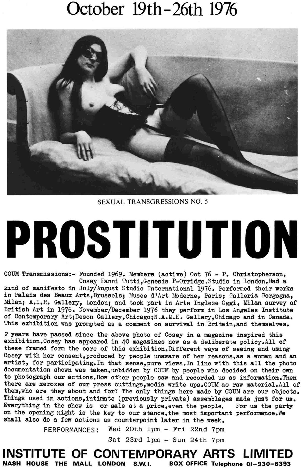 Cartel de la exposición  Prostitution  (ICA, octubre de 1976)