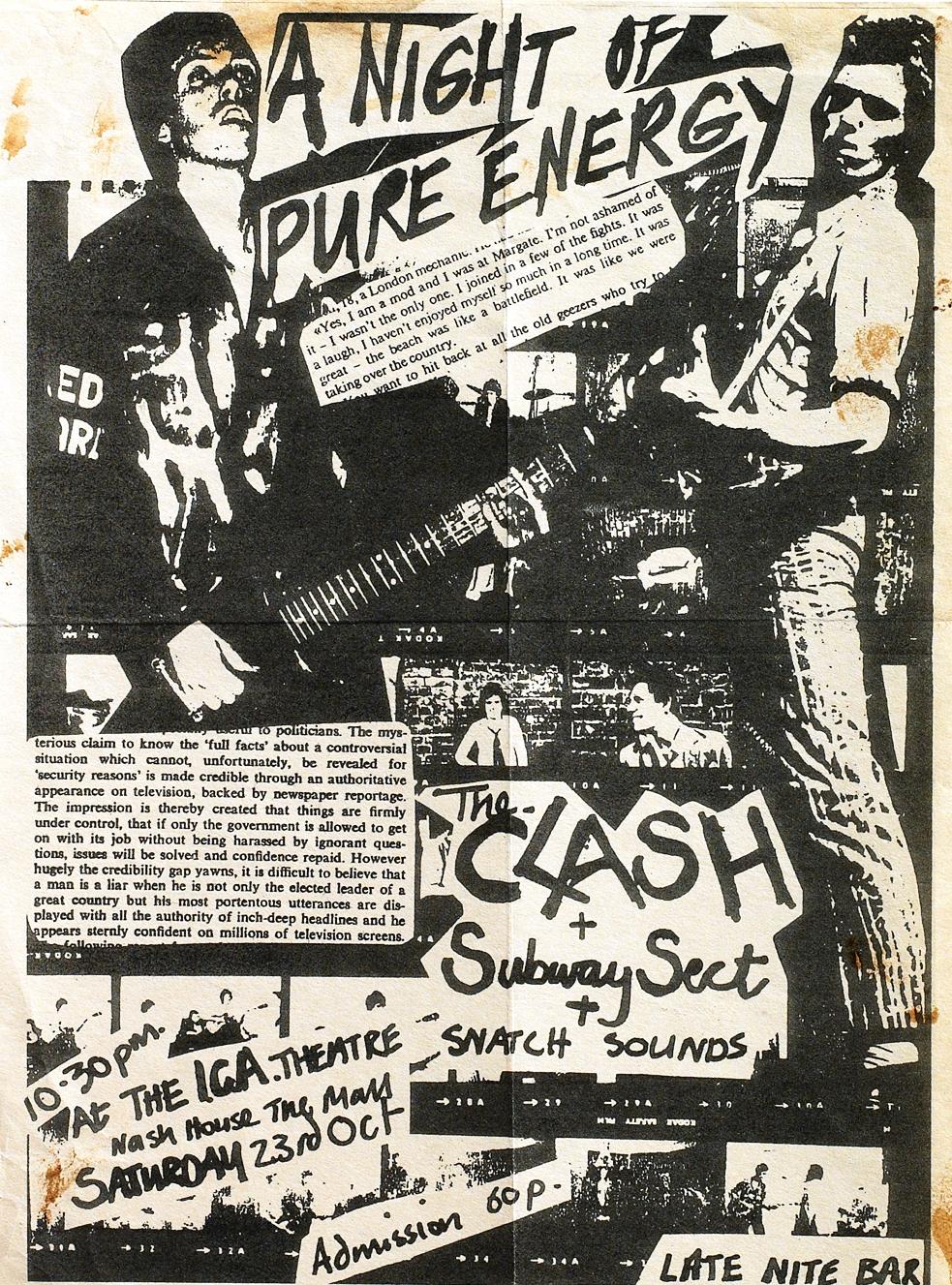 Cartel original del legendario show en el ICA (23 de octubre de 1976)