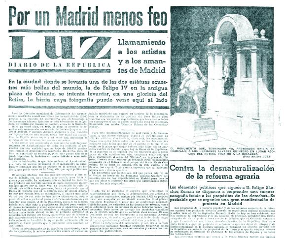 El periódico  Luz  y el inicio, en enero de 1934, de su campaña «Por un Madrid menos feo»